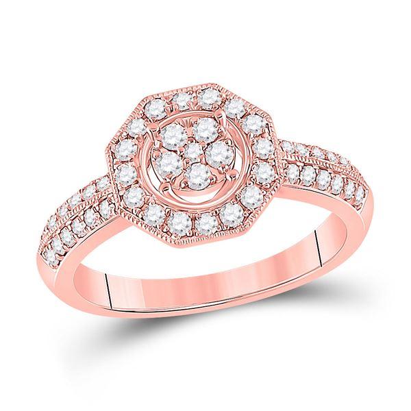 Diamond Fashion Flower Cluster Ring 1/2 Cttw 14kt Rose Gold