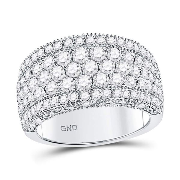 Diamond Pave Groove Band Ring 2 Cttw 14kt White Gold