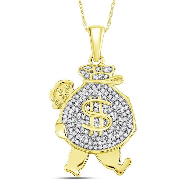 Mens Diamond Money Bag Man Charm Pendant 1/4 Cttw 10kt Yellow Gold