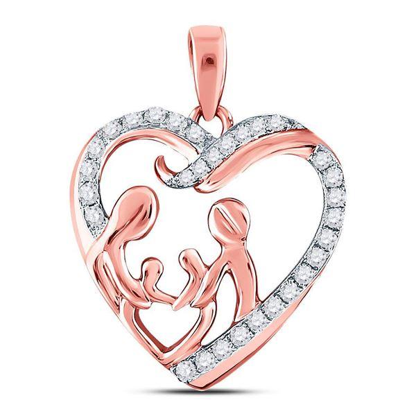 Diamond Mother Children Family Heart Pendant 1/4 Cttw 10kt Rose Gold