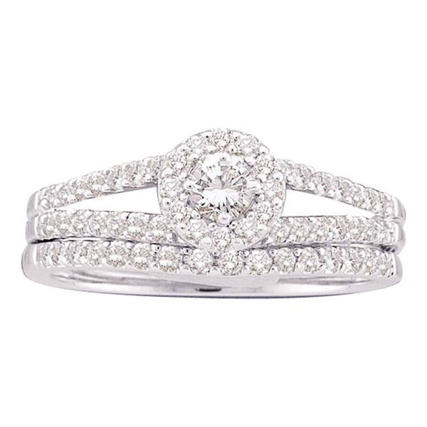 Diamond Split-Shank Bridal Wedding Ring Band Set 5/8 Cttw 14kt White Gold
