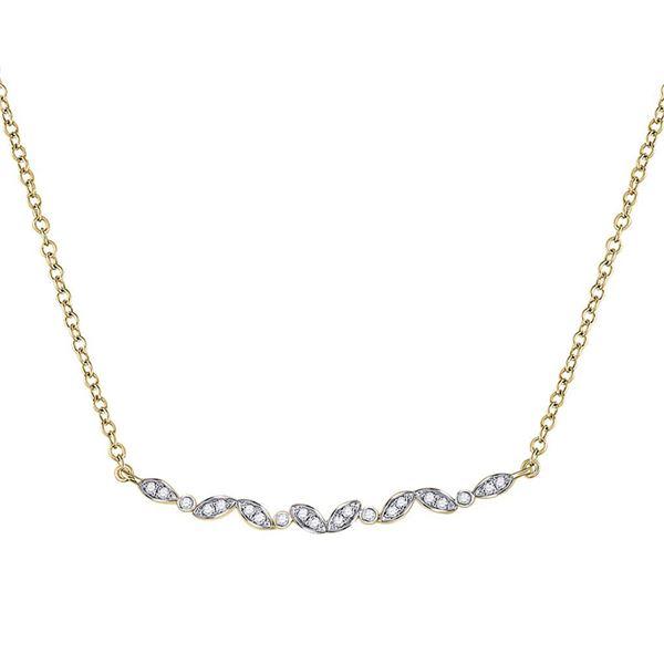 Diamond Bar Necklace 1/10 Cttw 14kt Yellow Gold