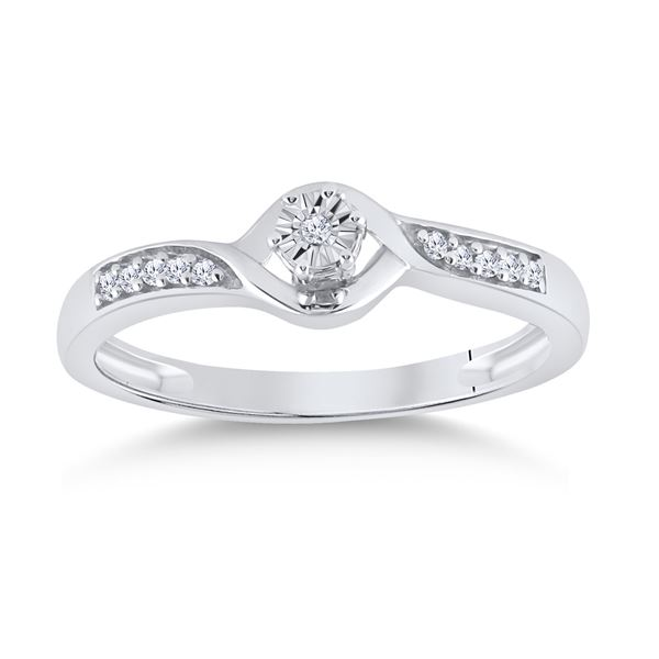 Diamond Solitaire Promise Ring 1/20 Cttw Sterling Silver