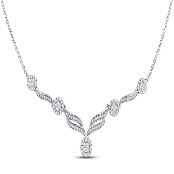 Princess Diamond Cocktail Cluster Necklace 1 Cttw 14kt White Gold