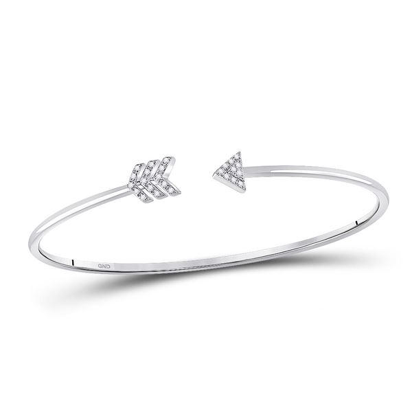 Diamond Arrow Bangle Bracelet 1/10 Cttw 10kt White Gold