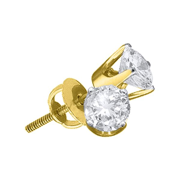 Unisex Diamond Solitaire Stud Earrings 1 Cttw 14kt Yellow Gold