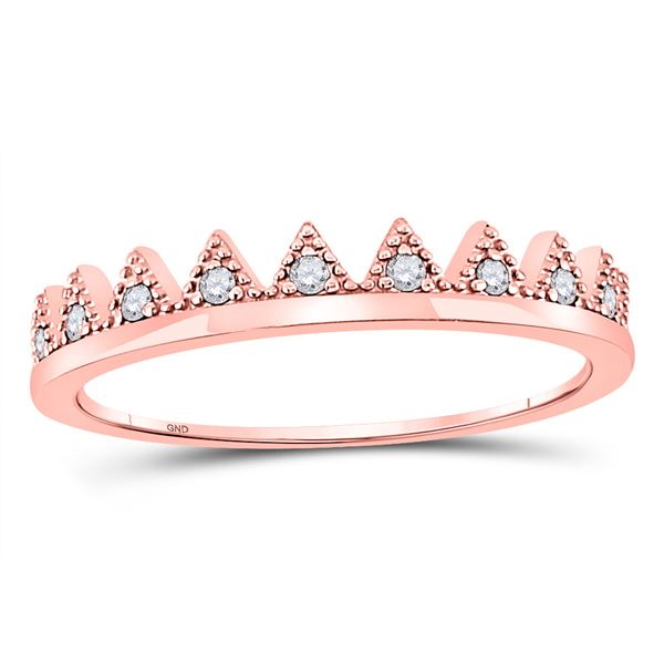 Diamond Chevron Stackable Band Ring 1/10 Cttw 10kt Rose Gold