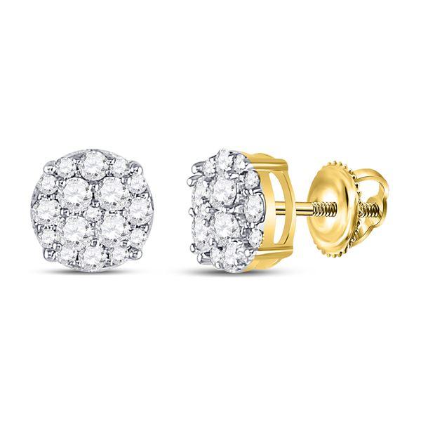 Diamond Cluster Earrings 1/3 Cttw 10kt Yellow Gold