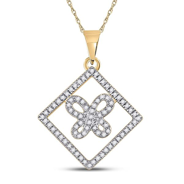 Diamond Square Butterfly Pendant 1/4 Cttw 10kt Yellow Gold