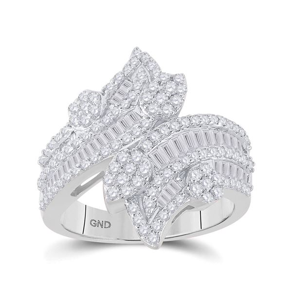 Baguette Diamond Bypass Cluster Fashion Ring 1-1/3 Cttw 14kt White Gold