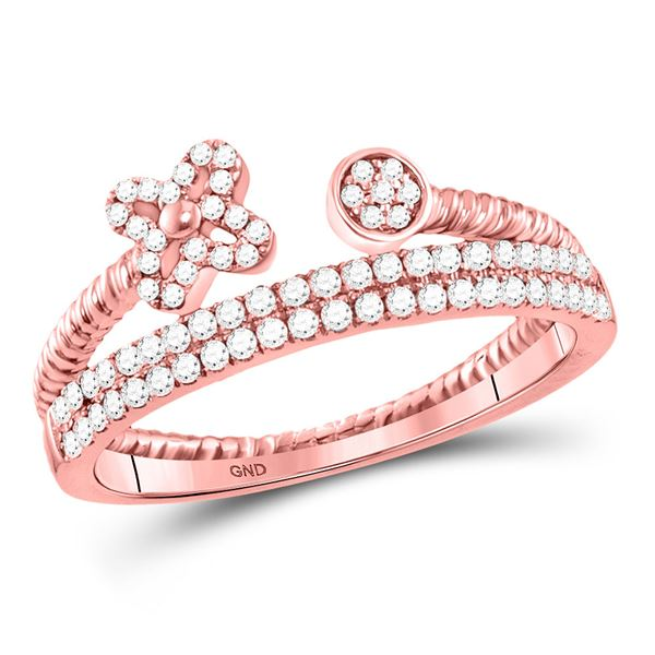 Diamond Flower Bisected Stackable Band Ring 1/5 Cttw 10kt Rose Gold