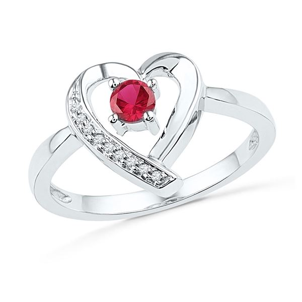 Lab-Created Ruby Solitaire Diamond Heart Ring 1/4 Cttw Sterling Silver