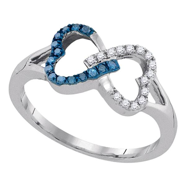 Blue Color Enhanced Diamond Double Linked Heart Ring 1/6 Cttw Sterling Silver