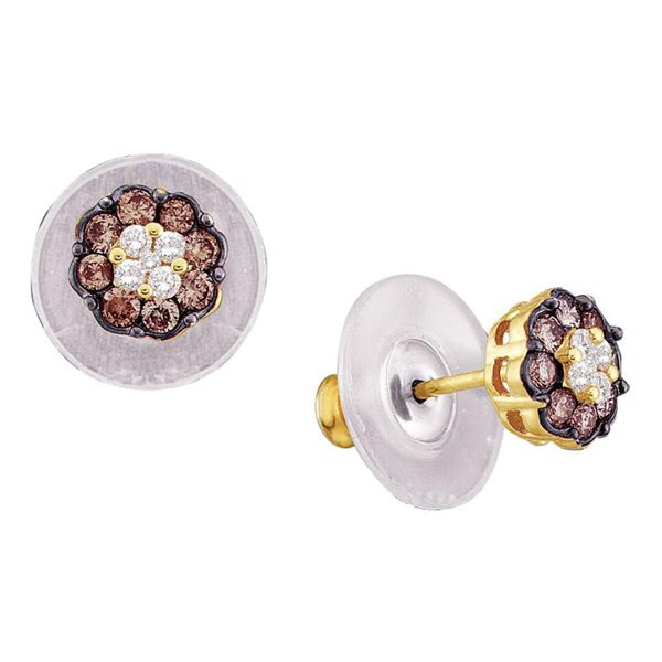 Brown Diamond Cluster Earrings 1/2 Cttw 14kt Yellow Gold