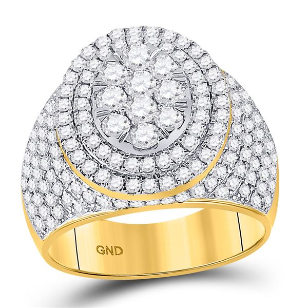 Mens Diamond Statement Cluster Ring 2-1/2 Cttw 10kt Yellow Gold