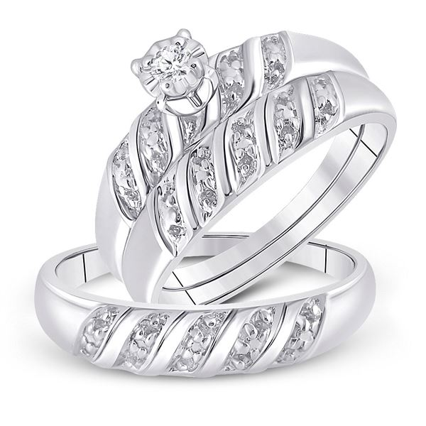 Sterling Silver His Hers Diamond Solitaire Matching Wedding Set 1/20 Cttw Sterling Silver