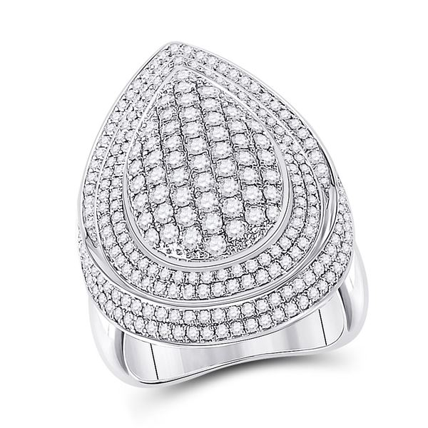 Diamond Fashion Cluster Pear Ring 2-1/5 Cttw 14kt White Gold