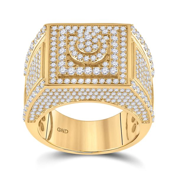 Mens Diamond Square Cluster Ring 3 Cttw 14kt Yellow Gold