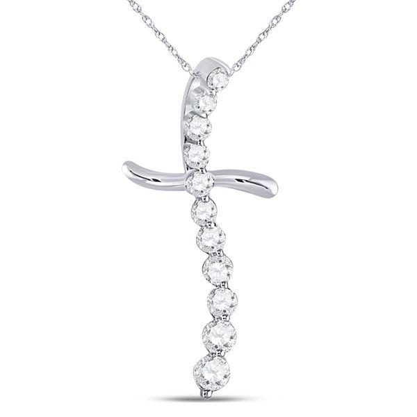 Diamond Curved Cross Pendant 1/4 Cttw 10kt White Gold