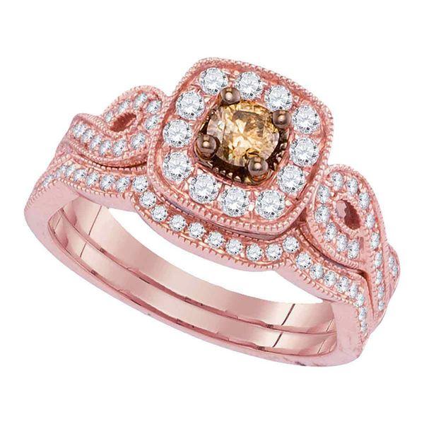 Brown Diamond Bridal Wedding Ring Band Set 3/4 Cttw 14kt Rose Gold