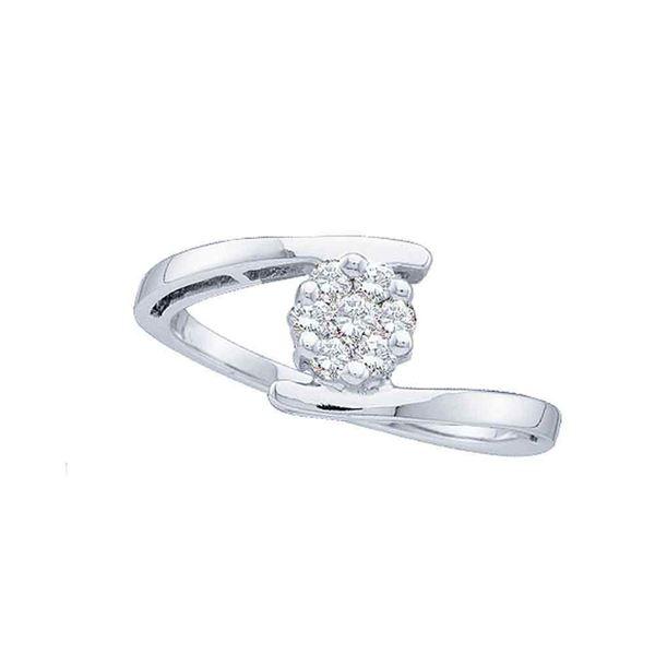 Diamond Cluster Ring 1/4 Cttw 14kt White Gold