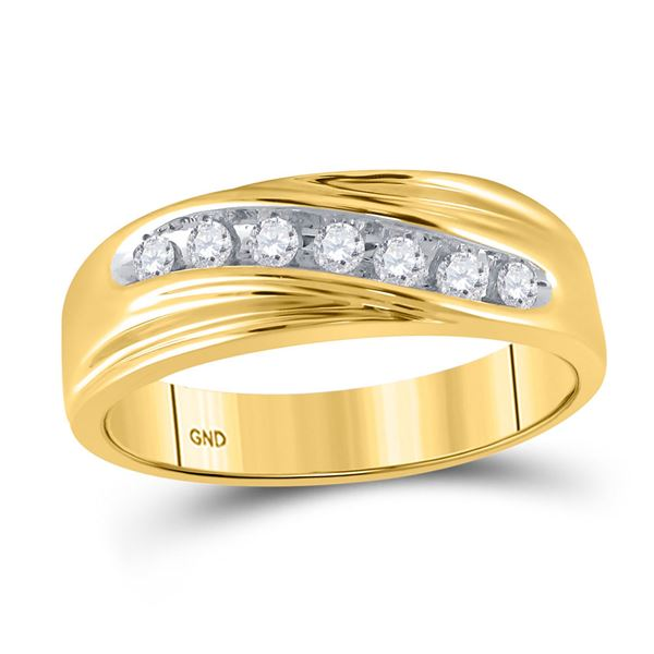 Mens Diamond Wedding Band Ring 1/4 Cttw 14kt Yellow Gold