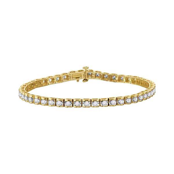 Diamond Studded Tennis Bracelet 1-1/2 Cttw 14kt Yellow Gold