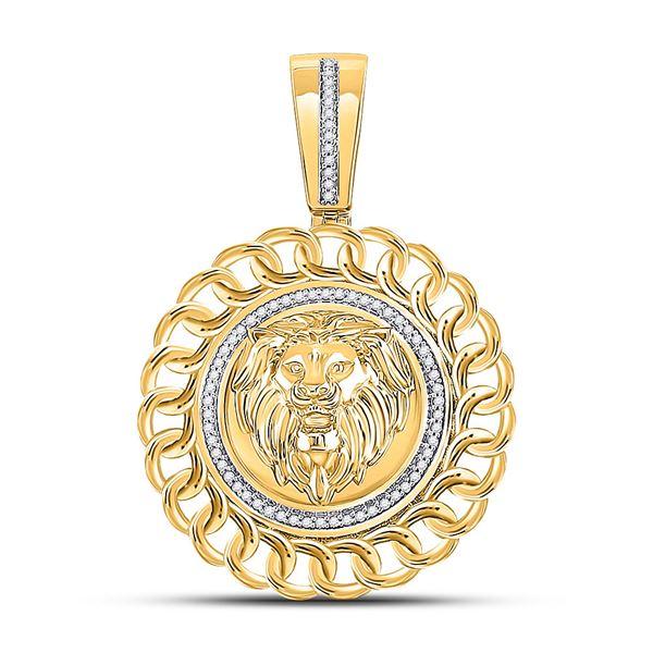 Mens Diamond Lion Head Circle Charm Pendant 1/5 Cttw 10kt Yellow Gold