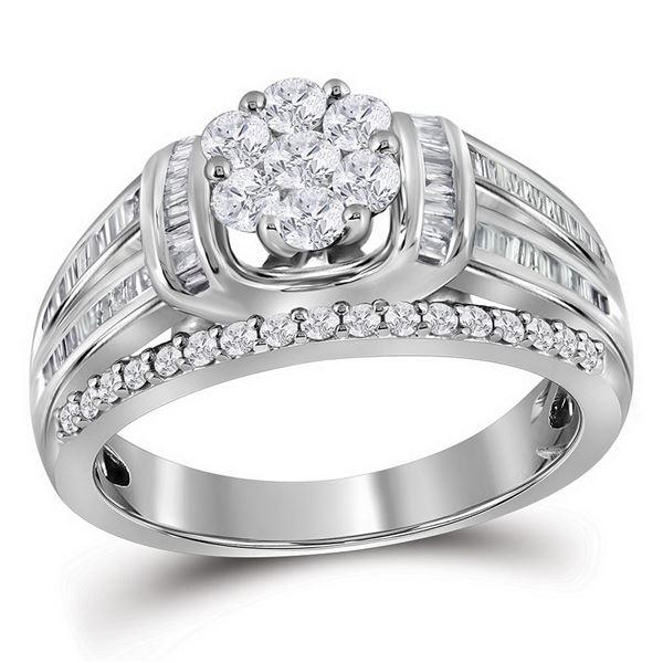Diamond Cluster Bridal Wedding Engagement Ring 1 Cttw 10kt White Gold