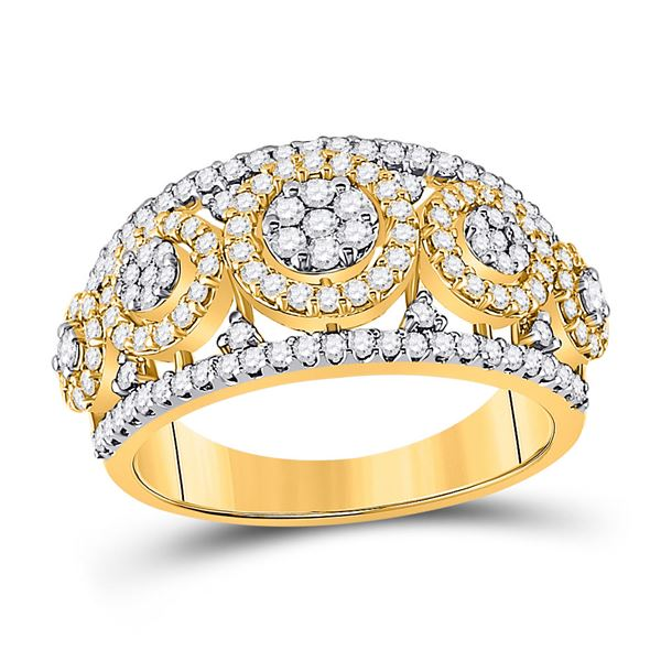 Diamond Cluster Anniversary Ring 1 Cttw 14kt Yellow Gold