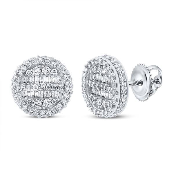 Mens Baguette Diamond Circle Earrings 3/4 Cttw 10kt White Gold