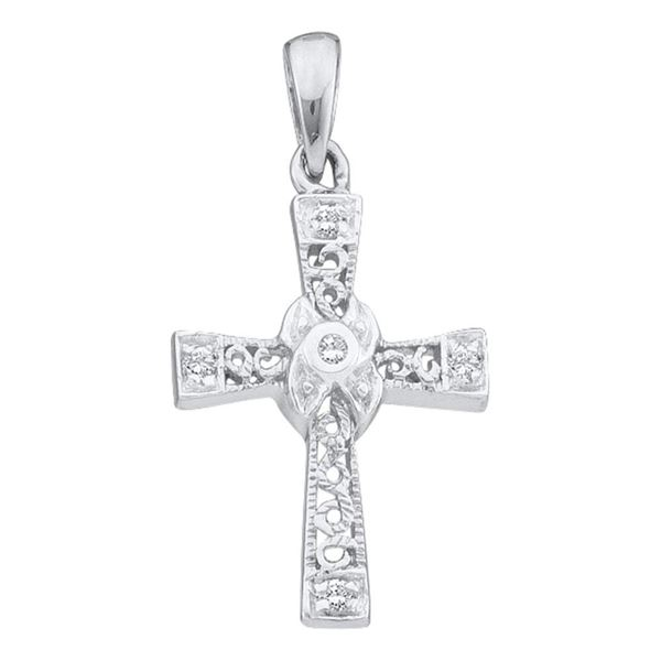 Diamond Small Cross Pendant 1/20 Cttw 10kt White Gold
