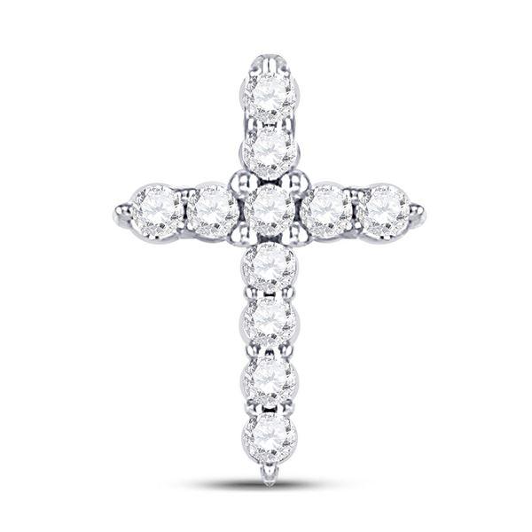 Diamond Cross Pendant 1/10 Cttw 10kt White Gold