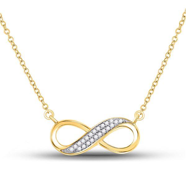 Diamond Infinity Pendant Necklace 1/6 Cttw 10kt Yellow Gold