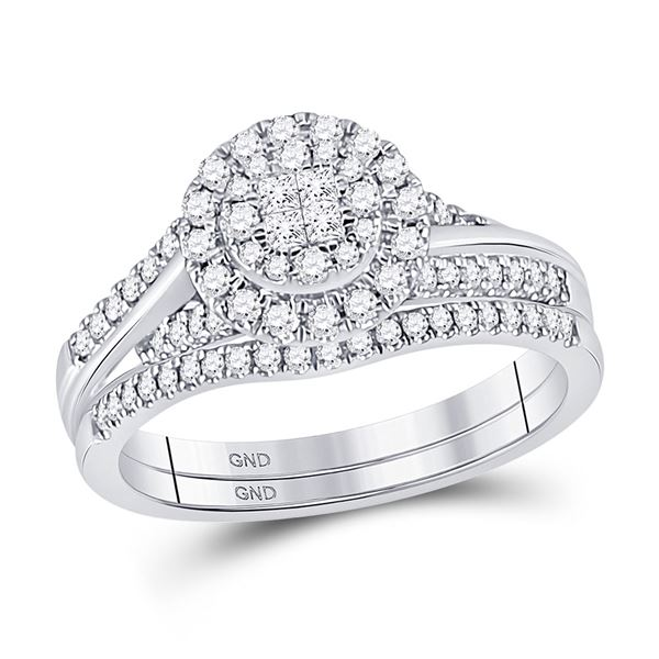 Princess Diamond Bridal Wedding Ring Band Set 1/2 Cttw 14kt White Gold