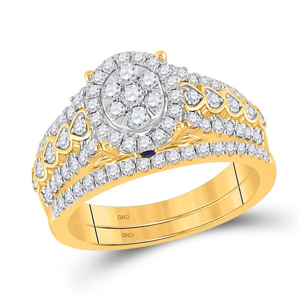 Diamond Bridal Wedding Ring Band Set 7/8 Cttw 14kt Yellow Gold