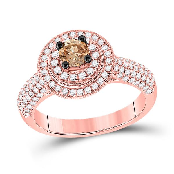 Brown Diamond Halo Bridal Wedding Engagement Ring 1 Cttw 14kt Rose Gold