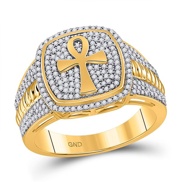 Mens Diamond Ankh Cross Ring 5/8 Cttw 10kt Yellow Gold