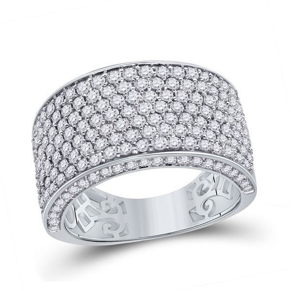 Mens Diamond Pave Band Ring 3-1/5 Cttw 14kt White Gold