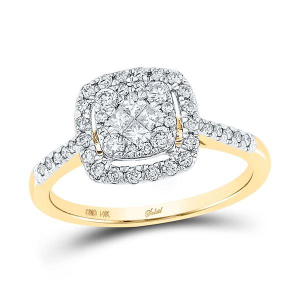 Princess Diamond Cluster Bridal Wedding Engagement Ring 1/2 Cttw 14kt Yellow Gold