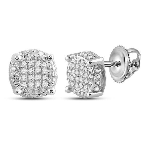 Mens Diamond Circle Disk Cluster Earrings 1/10 Cttw 10kt White Gold
