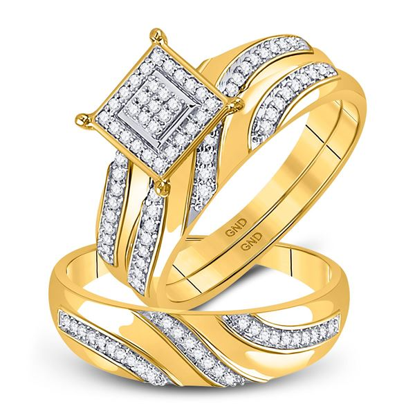 His Hers Diamond Cluster Matching Wedding Set 1/4 Cttw 10kt Yellow Gold