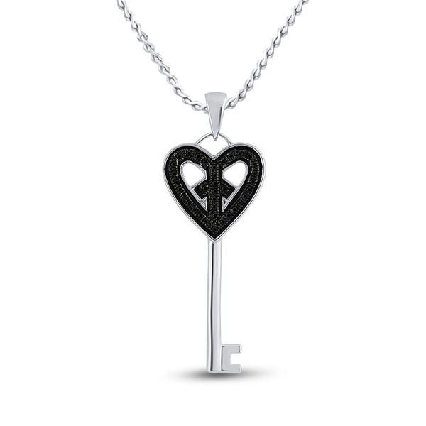 Black Color Enhanced Diamond Key Heart Pendant 1/10 Cttw Sterling Silver