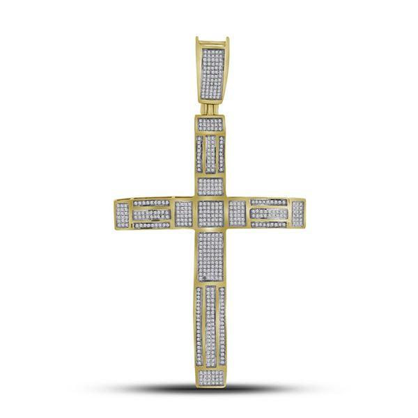 Mens Pave-set Diamond Roman Cross Charm Pendant 1 Cttw 10kt Yellow Gold