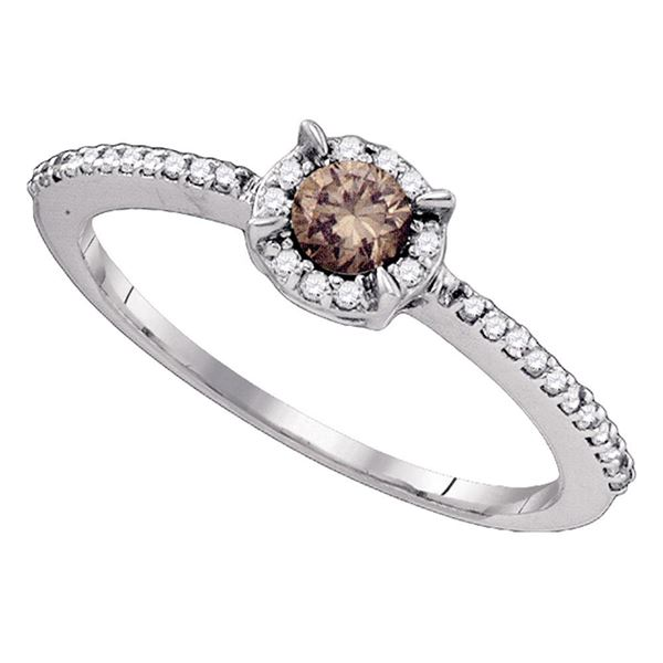 Brown Diamond Solitaire Bridal Wedding Engagement Ring 1/3 Cttw 10kt White Gold
