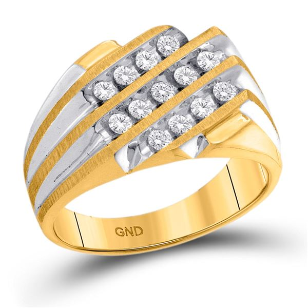 Mens Diamond Triple Row Cluster Ring 1/2 Cttw 10kt Yellow Gold
