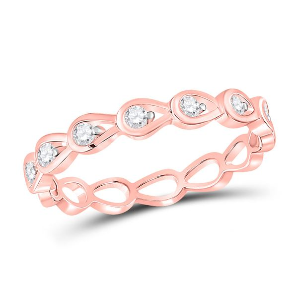 Diamond Stackable Band Ring 1/5 Cttw 10kt Rose Gold