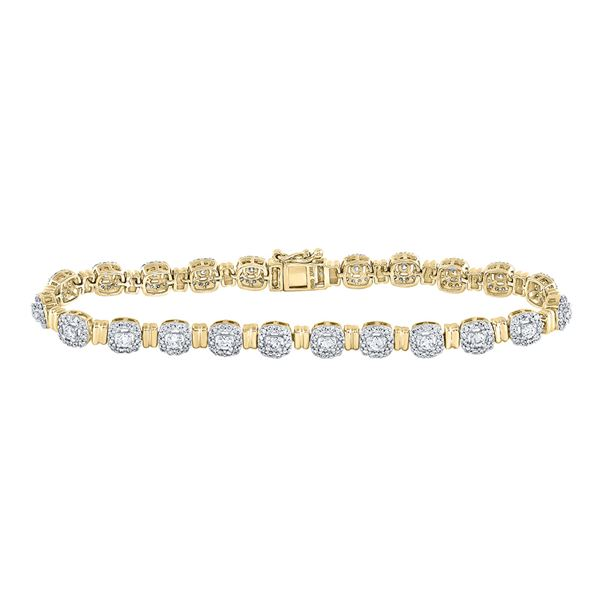 Diamond Cluster Link Bracelet 2-1/5 Cttw 14kt Yellow Gold