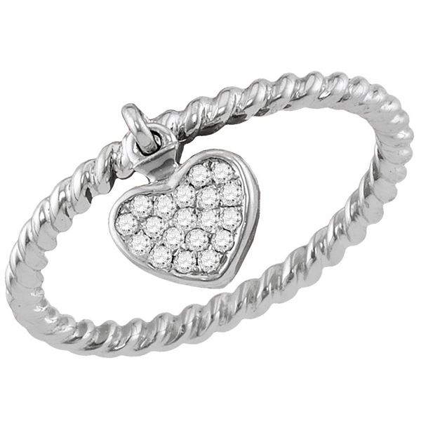 Diamond Heart Dangle Stackable Band Ring 1/10 Cttw 14kt White Gold
