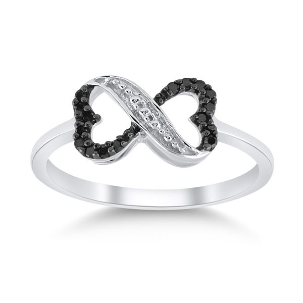 Black Color Enhanced Diamond Infinity Ring 1/10 Cttw Sterling Silver